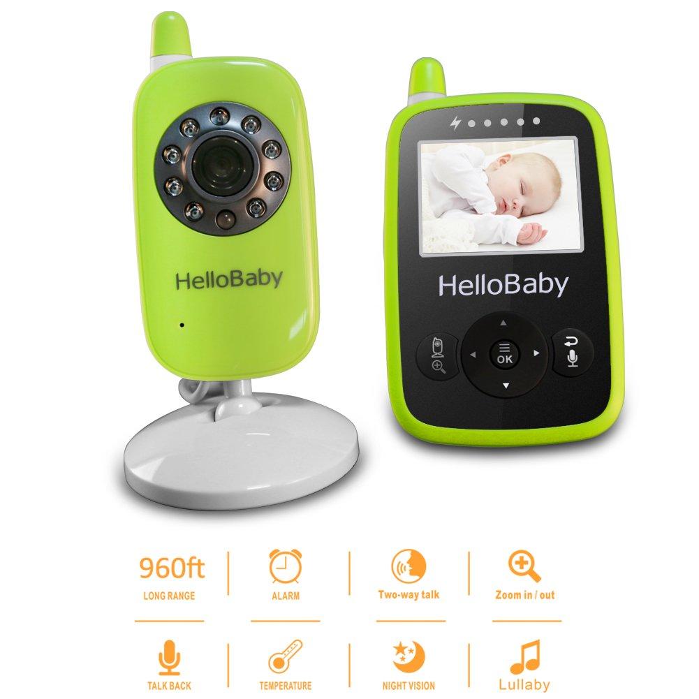 Gr/ün Temperatursensor HelloBaby HB24 2.4 Digital Funk TFT LCD Drahtlos Babyphone Wireless Video Kamera Baby Monitor Babyviewer /Überwachung Nachtsicht