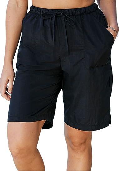 a830d04b03 Swim 365 Women's Plus Size Taslon Swim Board Shorts with Built-in Brief -  Black