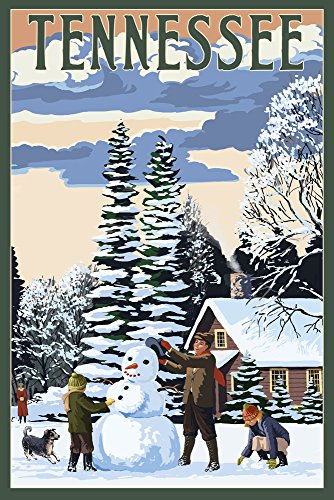 Tennessee - Snowman Scene (16x24 SIGNED Print Master Giclee Print w/Certificate of Authenticity - Wall Decor Travel - Tennessee Snowman