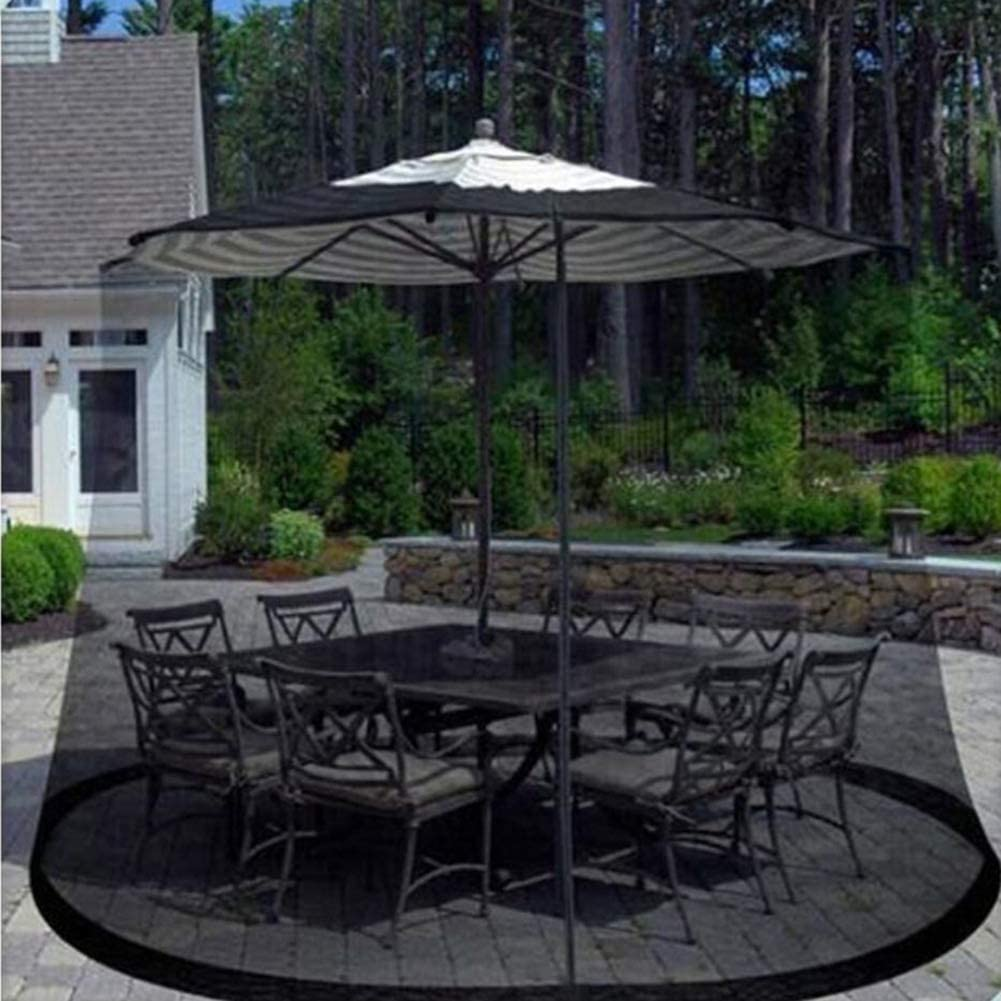 HXMENLIAN Patio Umbrella Cover Mosquito Netting Screen, Light Weight Zippered Mesh Enclosure Cover for Patio Table Umbrella Outdoor Garden-Black 300x230cm(118x91inch)