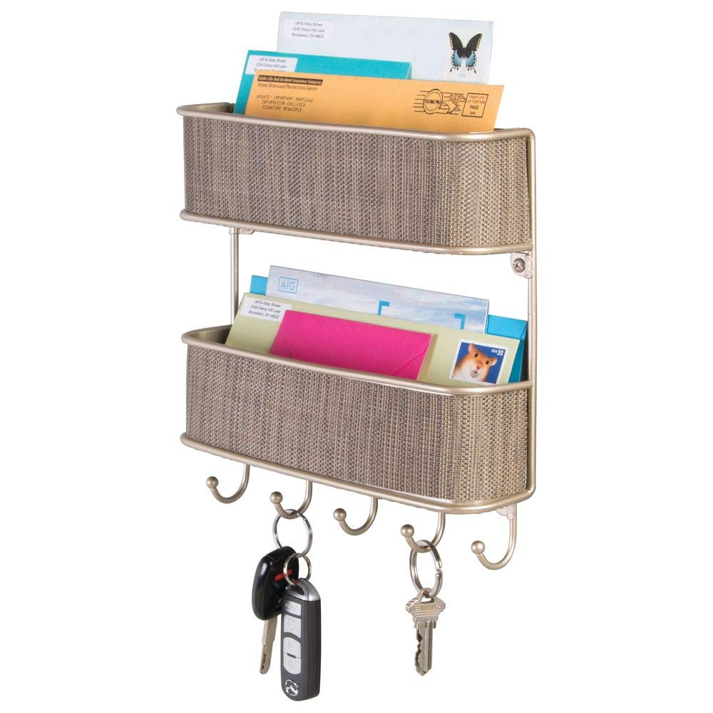 mDesign Wall Mount Metal Woven Mail Organizer Storage Basket - 2 Tiers, 6 Hooks - for Entryway, Mudroom, Hallway, Kitchen, Office - Holds Letters, Magazines, Coats, Leashes, Keys - Pearl Champagne/Tan