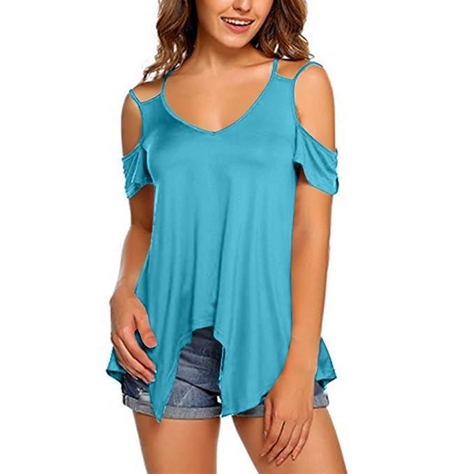 CICIYONER Blusa hombro sin tirantes de manga corta blusa Top camisa de la túnica: Amazon.es: Ropa y accesorios
