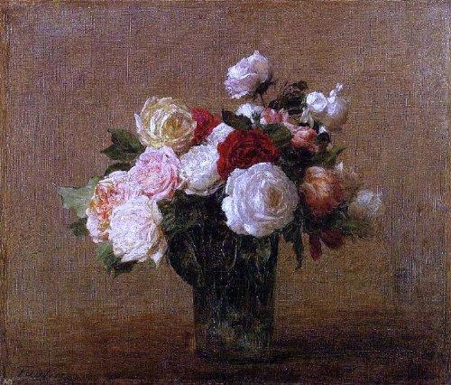 Art Oyster Henri Fantin-Latour Roses in a Glass Vase - 20.1'' x 25.1'' Premium Archival Print