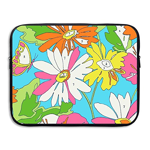 Fashion Colorful Flowers Colored Tints Printed Computer Storage Bag Portable Waterproof Neoprene Laptop Sleeve Bag Zipper Pocket Cover SizaName For MacBook Pro, MacBook Air, - Brand Clothing Tint