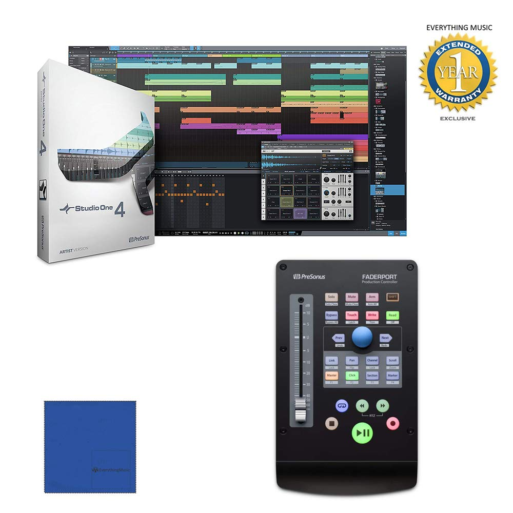 PreSonus Faderport USB Production Controller with Studio One Recording Software with Microfiber and 1 Year Everything Music Extended Warranty
