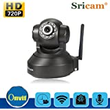 Sricamネットワークカメラ ワイヤレスカメラIPカメラ見守りカメラホームカメラベビーカメラペットカメラコンパクト無線遠隔監視カメラ 720P/百万画素H.264圧縮/WIFI対応/IR-CUT付き/動体検知/警報機能/マイク内蔵/暗視機能/遠隔操作/双方向音声LED/録画機能/防災/防犯 ブラック