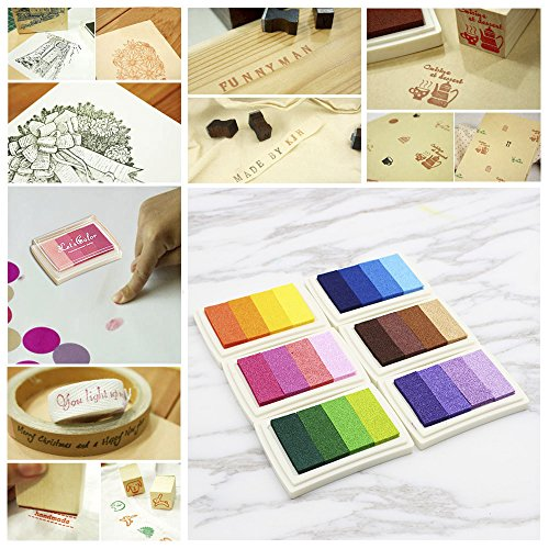 Walmeck Ink Pad Multicolor Rainbow Craft Stamps Colorful Rubber Stamp Pad DIY Scrapbooking Finger Paint Fingerprint Inkpad for Stamps Paper Wood Fabric by Walmeck (Image #7)