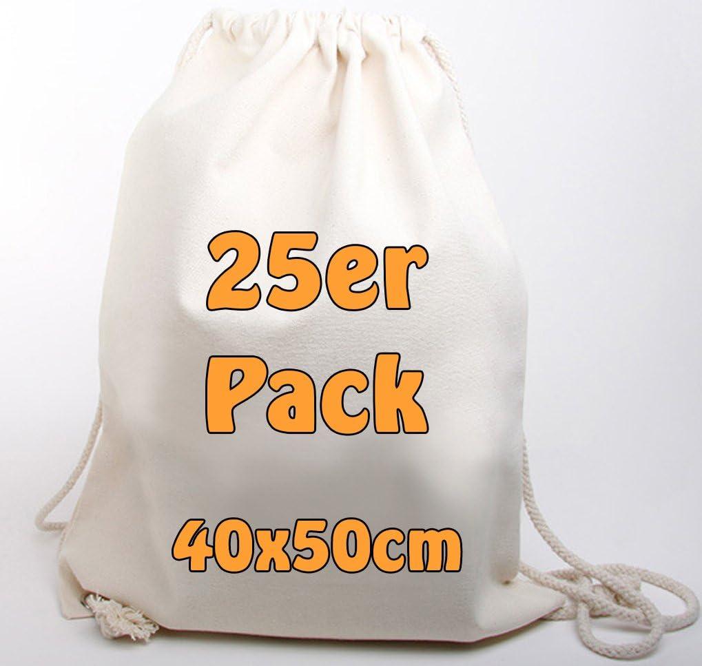 Moderno Canvas Ruck saco Mochila de algodón jeans similar plástico (muy robusto y resistente.) sin texto impreso con cordón Natural 40 X 50 Cm 25 bolsas): Amazon.es: Deportes y aire libre