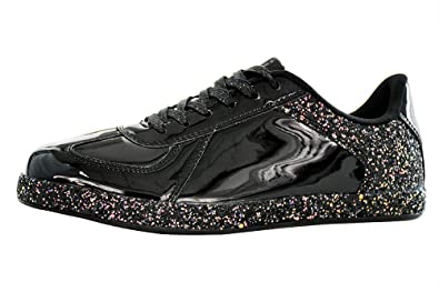 0ffddf2512bf7c ROXY ROSE Womens Sneaker Flats Metallic Leather Glitter Fashion Sneakers  Shoes Lace Up (5 B
