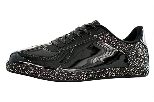 20ba68bb50 ROXY ROSE Womens Sneaker Flats Metallic Leather Glitter Fashion Sneakers  Shoes Lace Up