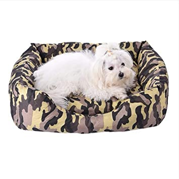 Wuwenw Camuflaje Impreso Cama para Perros Invierno Cálido Gatos Casas Estera para Sofá Artículos para Mascotas