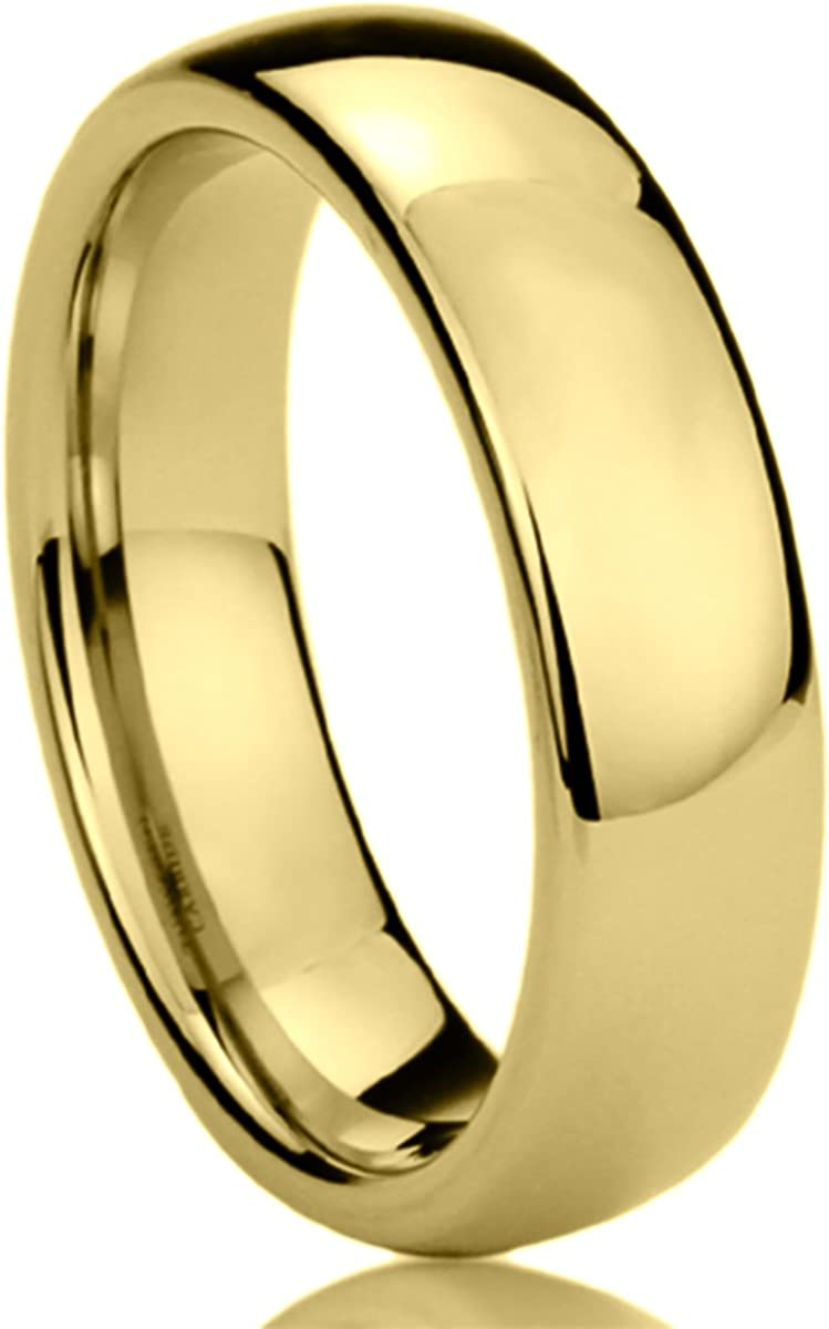 Prime Pristine Titanium Wedding Band Ring for Men & Women Yellow Tone High Polished Classy Domed Ring for Men & Woman
