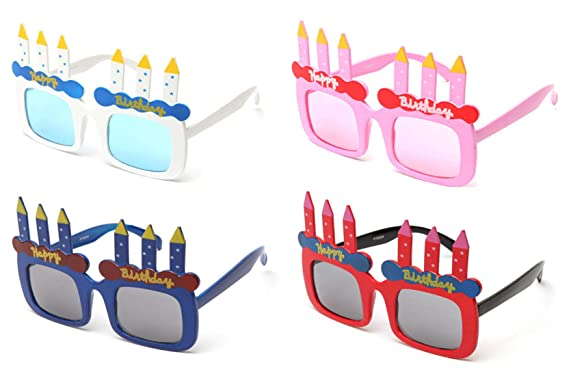 Newbee Fashion Happy Birthday Cake Candles Shaped Party Sunglasses Fun Boys Girls Props