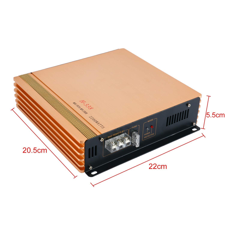H-338 2200W Car Amplifier 2 Channel Mini Super Bass 12V Stereo Audio Power Amp