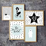 Children's Wall Art Prints, Boho Woodland Animal Collection, Set of 5 MIX 5x7 Prints, Forest Nursery, Gender Neutral Nursery Decor, Bear, Deer, Fox, Woodland Nursery, Kids Room, Baby Room Decor