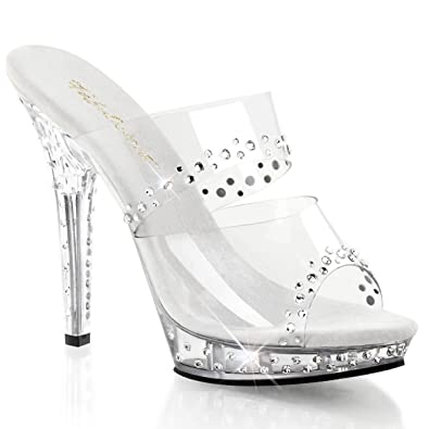 e9aa3bca189 Summitfashions Womens 5 Inch Clear High Heels with Rhinestone Embellishment Clear  Dress Shoes Size  5