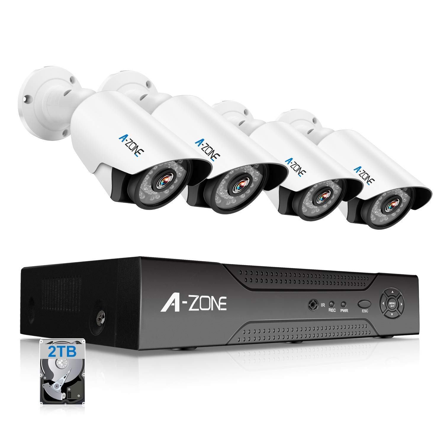 A-ZONE Security Camera System 4 Channel 1080P DVR 4 x 960P HD Waterproof Night Vision Indoor/Outdoor Home CCTV Video Wired Surveillance Kits, Customizable Motion Detection,Pre-installed 2TB HDD by A-ZONE