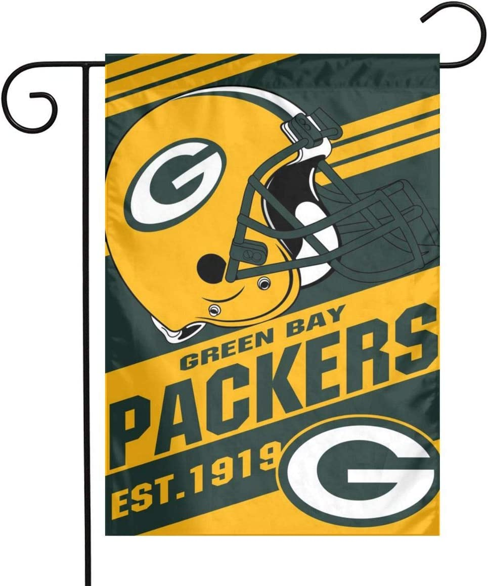 Pammio Green Bay Weatherproof Double-Sided Printed Garden Flags Decorate Your Patio Balcony Etc - 12x18 Inches