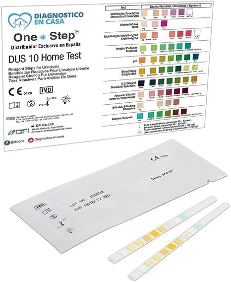 2 x Tiras Reactivas Examen Análisis Orina 10 Parámetros: Leucocitos, Nitritos, Urobilinógenos, Proteínas, pH, Sangre, Densidad, Cetonas, Bilirrubina y Glucosa - Test Infección Orina: Amazon.es: Salud y cuidado personal