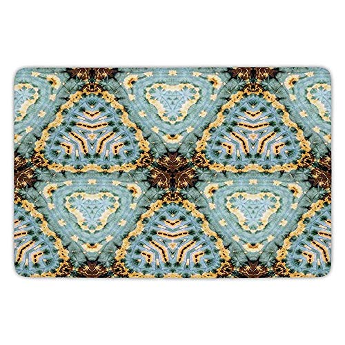 - Bathroom Bath Rug Kitchen Floor Mat Carpet,Tie Dye Decor,Classic Tie Dye Batik Motif with Bizarre Oriental Multiple Icons Aesthetic,Brown Blue,Flannel Microfiber Non-Slip Soft Absorbent