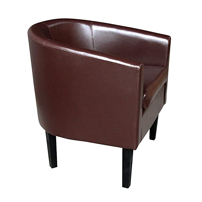 Beshomethings Faux Leather Tub Chair Sofa Armchair for Dining Living Room Office Reception Furniture Yellow