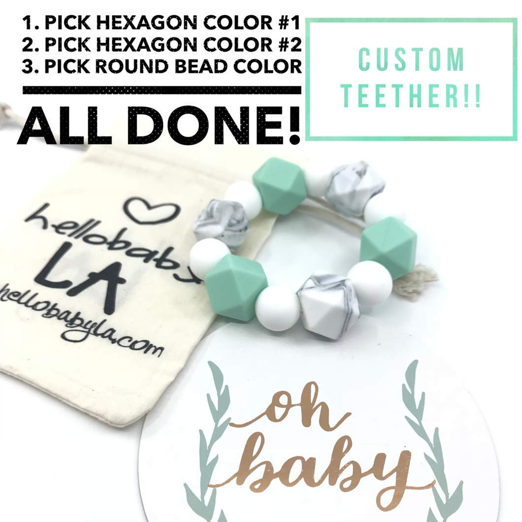 Customized Freezable Teether (Choose Your Colors!) | Pink Blue Mint Green Marble Lavender Grey Monochrome | Boy Girl Gender Neutral Baby Teething Gift |