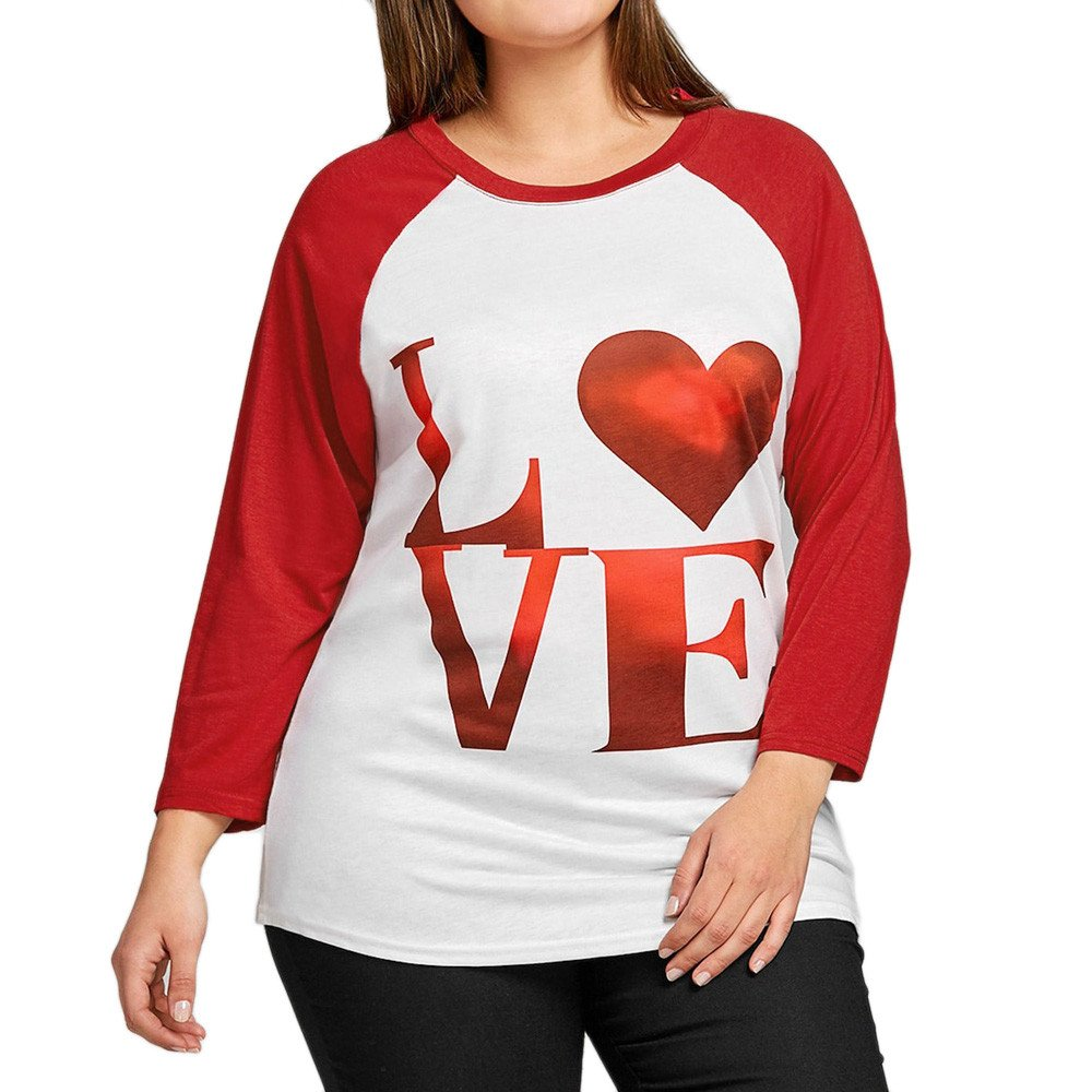 Clearance Plus Size Women Shirts Love Printing Casual Long Sleeve Blouse Tunic Girls Sweatshirt Pullover Tops (2XL, Red)