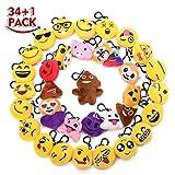 KINGSO 35 Pack 2.5'' Mini Emoji Plush Pillow Emoticon Keychain Decoration Kids Party Supplies Favors