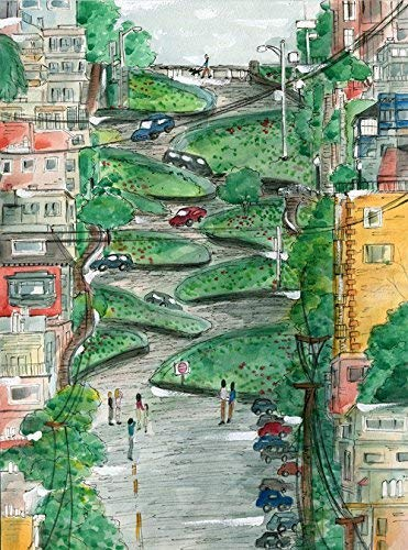Lombard Street Art, San Francisco Art Print, San Francisco Illustration, San Francisco Sourvenir, Bay Area Art, Iconic Art, Whimsical Art Print, Travel Art, City Illustration (Best Places To Visit In San Francisco Bay Area)