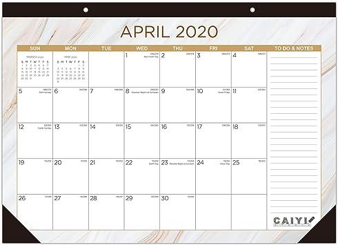 """Amazon.: Desk Calendar 2020 2021: 17"""" x 12"""" Large Monthly Desk"""
