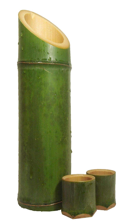 Miki Real Japanese Bamboo Made Japanese Sake Cup Ochoco & Japanese Decanter Tokkuri Set