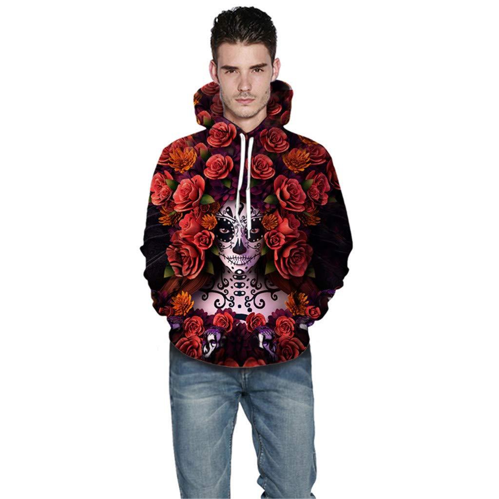 AcisuHu Unisex Realistic 3D Rose Printed Big Pockets Drawstring Pullover Hoodie Hooded Sweatshirt for Boys Girls