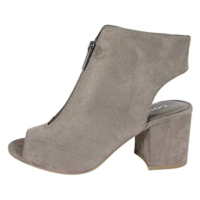 CityClassified FL01 Women's Front Zip Backless Wrapped Chunky Heel Ankle Booties