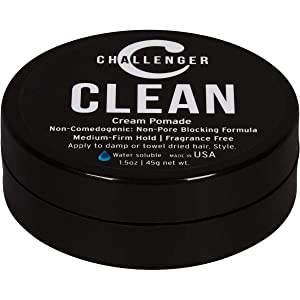 Clean Matte Cream Pomade - Challenger 1.5oz Go Size - Medium Firm Hold - Non-Comedogenic (non-pore blocking), Fragrance Free, Water Based. Unscented Hair Wax, Fiber, Clay, Paste All In One