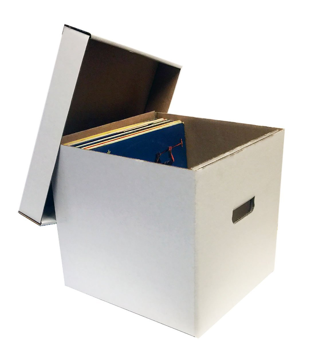 Max Protection (15) 12'' 33RPM Record Album Storage Boxes with Removable Lid - Holds Up to 65 Vinyl Records VIRGIN WHITE by MAX PRO