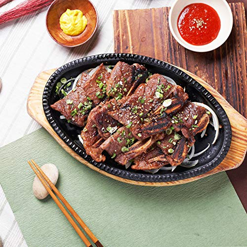 Wang Authentic KBBQ LA Kalbi Korean Marinated Beef, USDA Choice Grade Steak Short Ribs Strips meat gift packages, 2 day delivery (5 packs of 19oz)