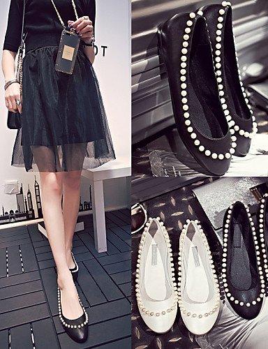 PDX plano de mujer zapatos us5 vestido negro punta de uk3 Flats piel white redonda cn34 talón eu35 boda blanco rwxYrqt