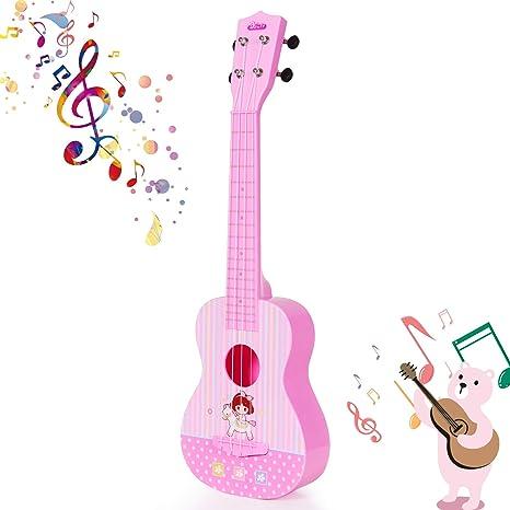 SGILE Juguete de Guitarra Ukelele Musical para Niños, 23 Pulgadas 4 Cuerdas Guitarra Clásica Juguete
