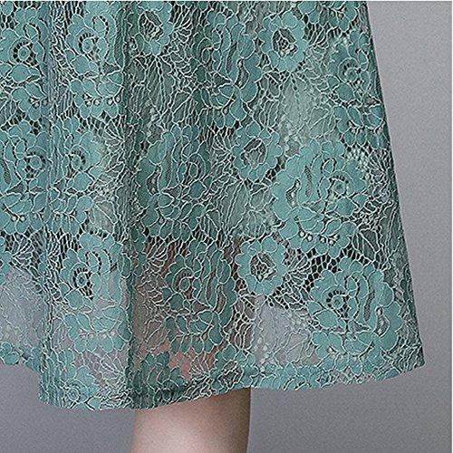 Linie A 4 Damen YL33611 3 girl Partykleid Cocktailkleid Arm E Kleid Reine Grün Midi Kleider Spitze Hohl qC1xPvRn