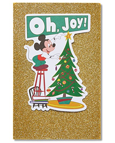 American Greetings Mickey Mouse Holiday Card with Glitter (Disney Christmas Cards)