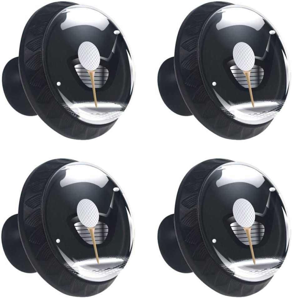 Golf Ball On Tee with Club in The Spotlight Round Knob Metal Cabinet Cupboard Drawer Door Pull Handle Knob Pack of 4