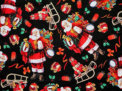 1 Yard - Classic Santa & Sleigh Tossed on Black Cotton Fabric (Great for Quilting, Sewing, Craft Projects, Throw Pillows & More) 1 Yard X 44