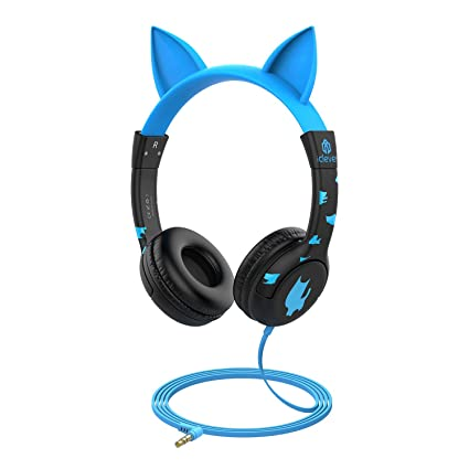 d76638320e9 iClever Kids Headphones, Cat-Inspired Wired On-Ear Headsets with 85dB  Volume Limited