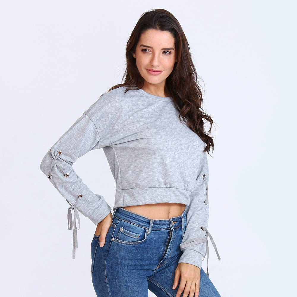 Womens Casual Lace Up Long Sleeve Pullover Crop Top Solid Sweatshirt at Amazon Womens Clothing store: