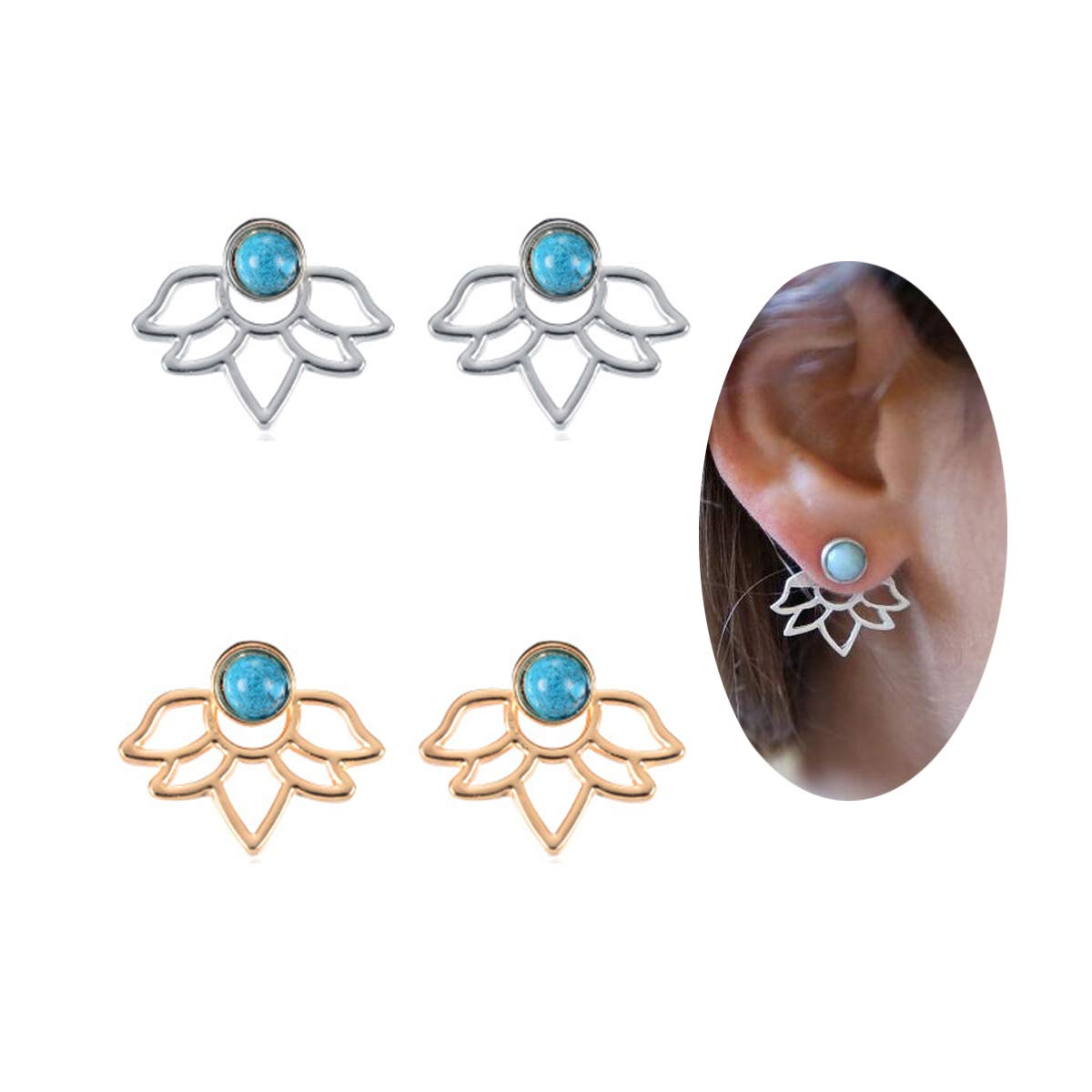 New Arrival 2 Pairs Hypo Allergenic Turquoise Lotus Jacket Earrings for Women Fashion Earrings Set FarryDream