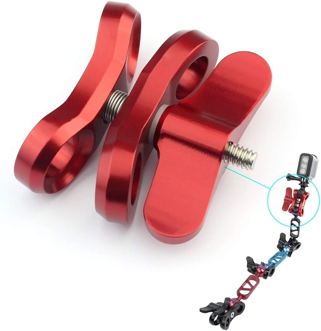 XIAOMIN Ball Clamp Close Hole Diving Camera Bracket CNC Aluminum Spring Flashlight Clamp for Diving Underwater Photography System Premium Material Color : Red