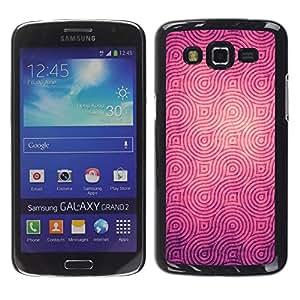 MOBMART Carcasa Funda Case Cover Armor Shell PARA Samsung Galaxy Grand 2 - Shinning Magenta Spirals