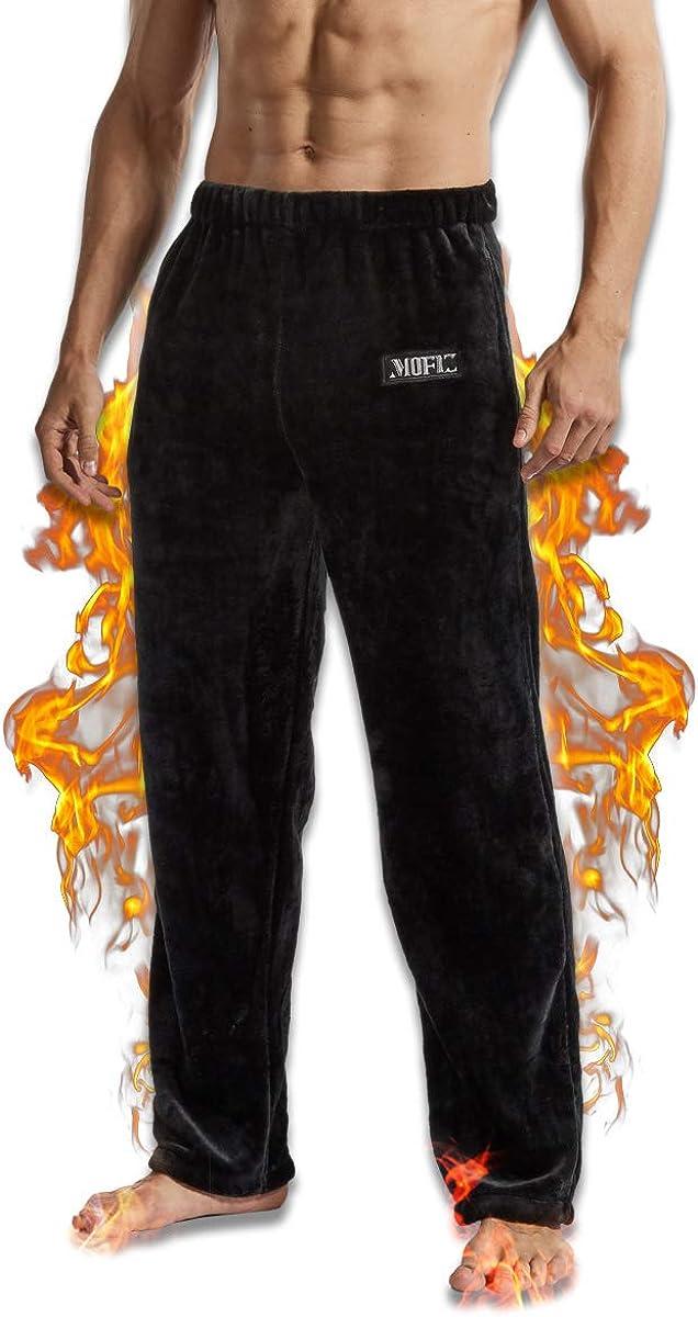 JINSHI Pantalones Largos de Pijama Hombre Blando Vestido de Casa El/ástico Ropa C/álida de Dormir Invierno