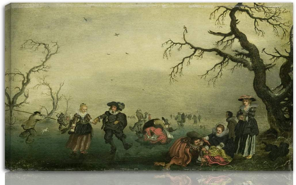Berkin Arts Adriaen Van De Venne Stretched Giclee Print On Canvas-Famous Paintings Fine Art Poster-Reproduction Wall Decor Ready to Hang(Ice Skaters)#NK