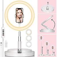 TARION Lampa pierścieniowa LED 11 cali z obrotowym uchwytem na smartfon i wysuwanym stojakiem na lampę, przyciemniany…
